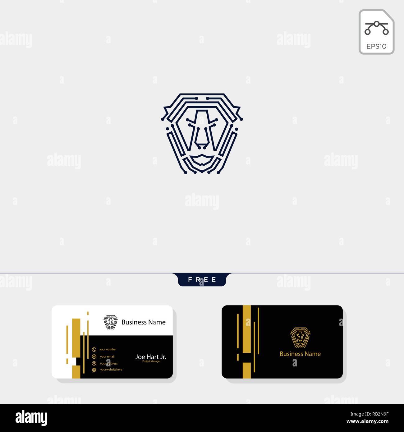 Logo Lion Tech Modele Icone Illustration Vectorielle Obtenez Gratuitement Un De Conception Carte Visite