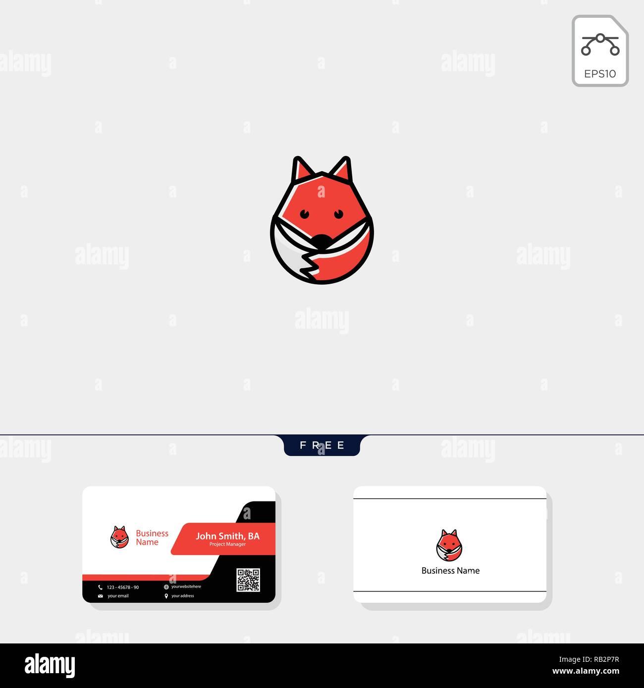 Logo Fox Mignon Et Simple Illustration Vecteur Modele De Conception Carte Visite Gratuit