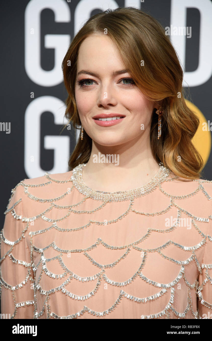 Golden Globe prête-nom Emma Stone assiste à la 76e Golden Globe Awards au Beverly Hilton de Los Angeles, CA le dimanche, Janvier 6, 2019. Photo Stock