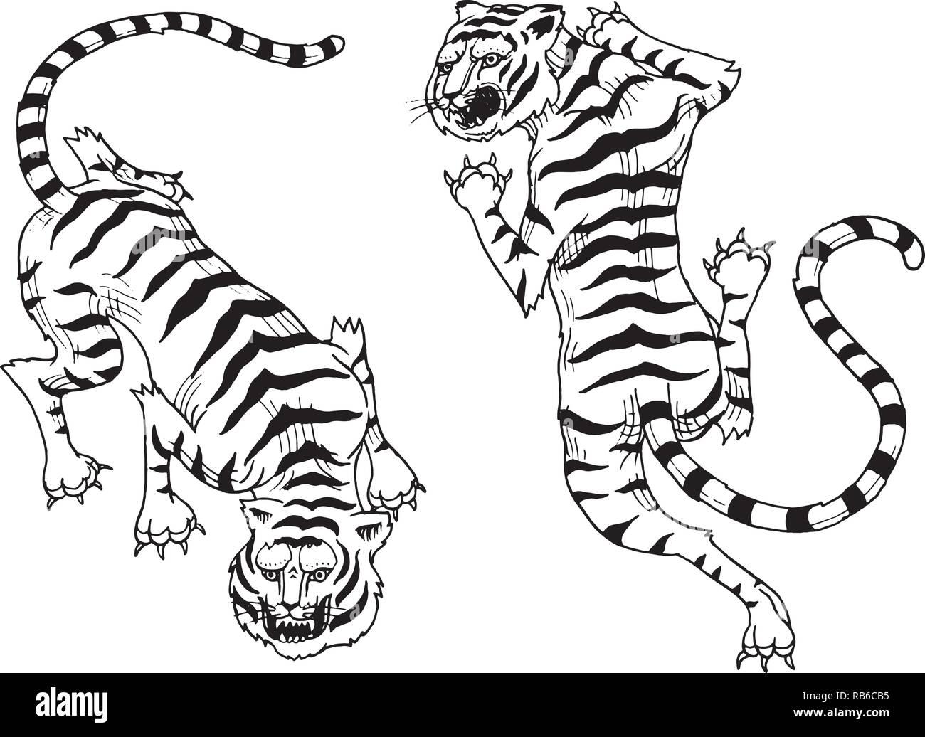Tigres Asiatiques En Japonais Vintage Style Pour Logo Les Animaux