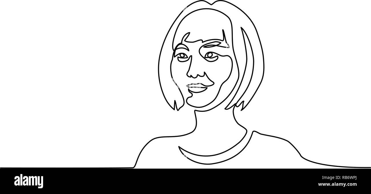 Dessin d'une ligne continue. Résumé Portrait de jolie jeune femme de nationalité chinoise. Vector illustration Illustration de Vecteur