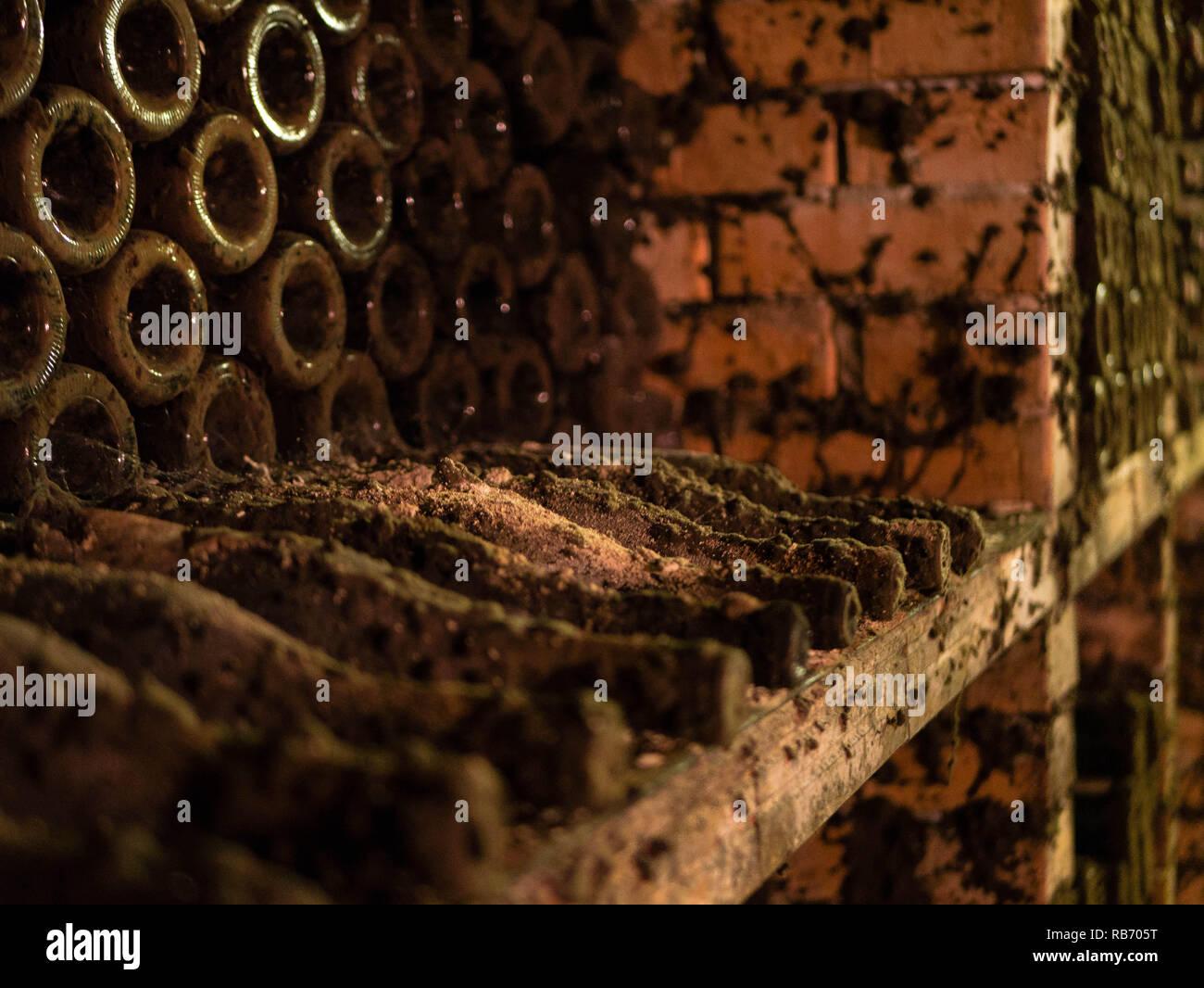 Bouteilles oublié dans une ancienne cave à vin Banque D'Images