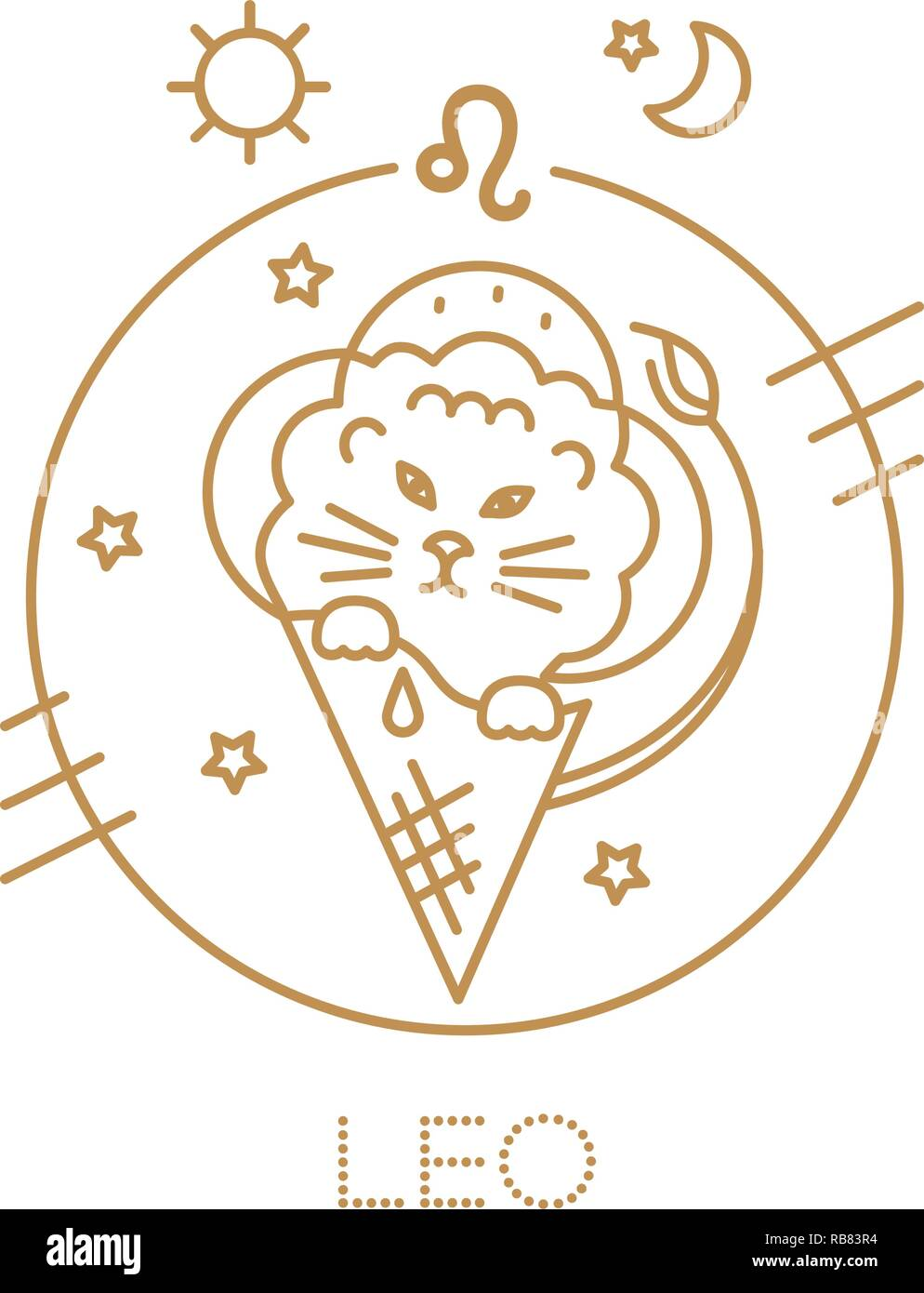 Leo Lion Signe Du Zodiaque Logo Illustration Ou De Tatouage