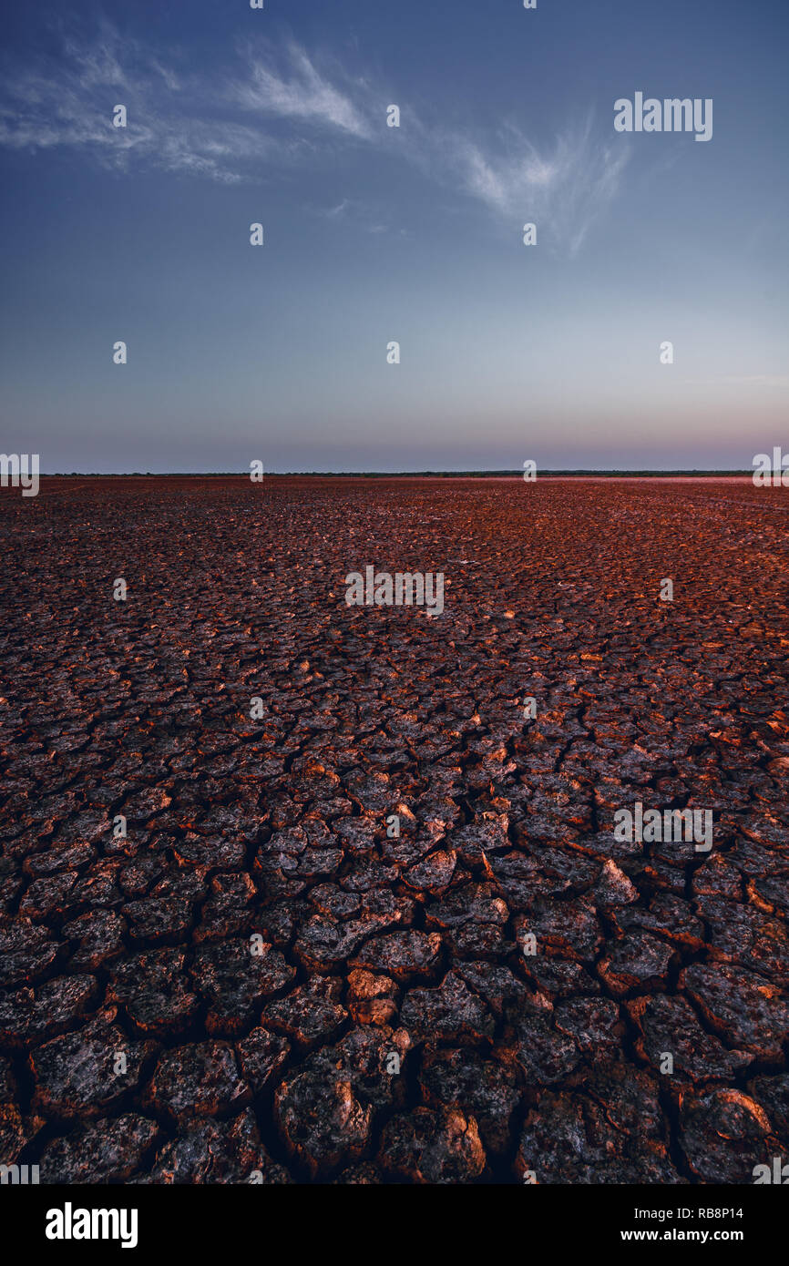 Vaste expansion des terres en désert Sarigua obtenir laissez par beau côté lumière. Banque D'Images