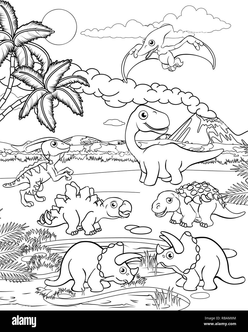 Dessin Animé Paysage Préhistorique Dinosaure Vecteurs Et