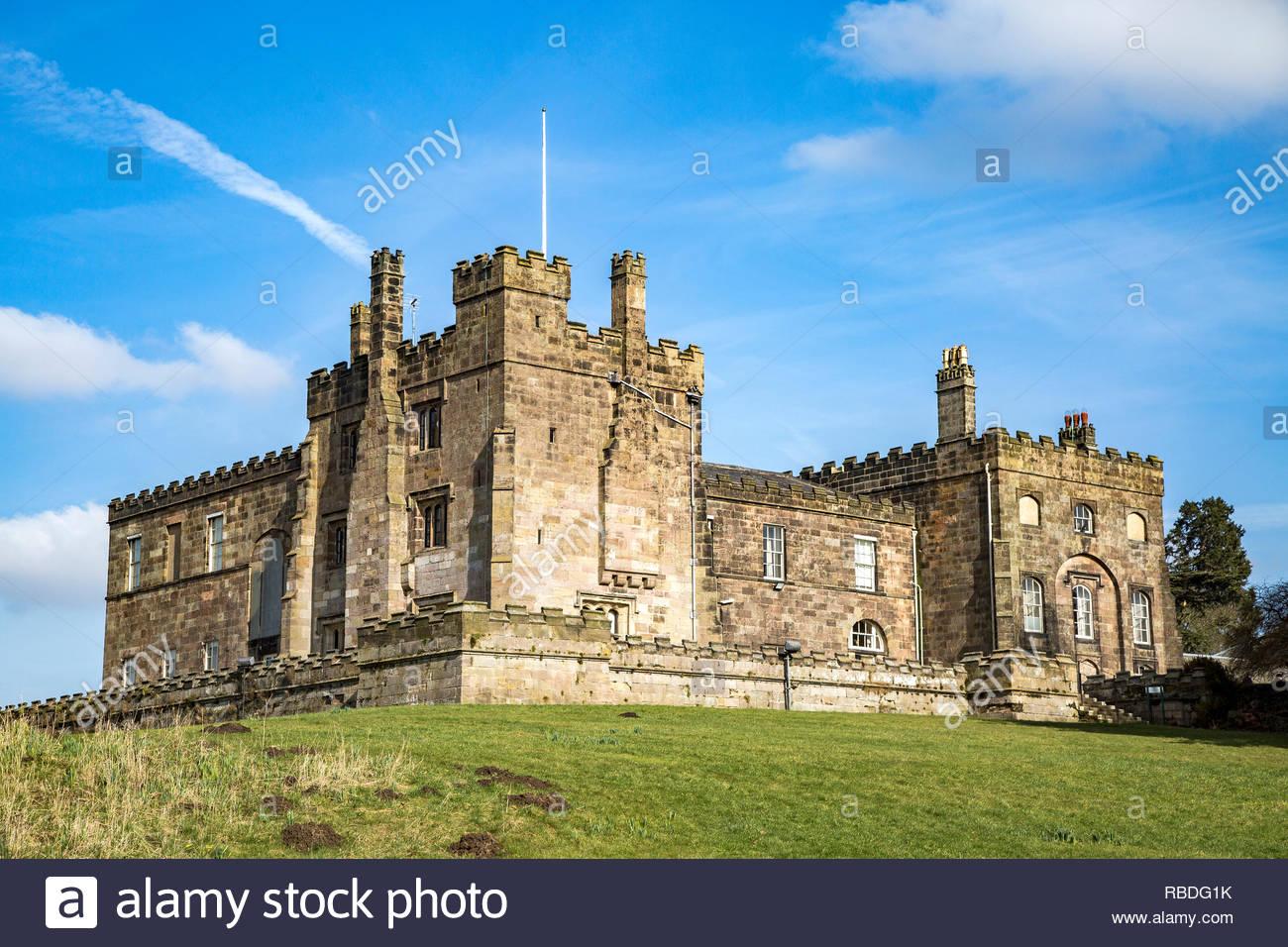 1 e année 14ème siècle figurant le château de ripley dans le North Yorkshire, England, UK. Photo Stock