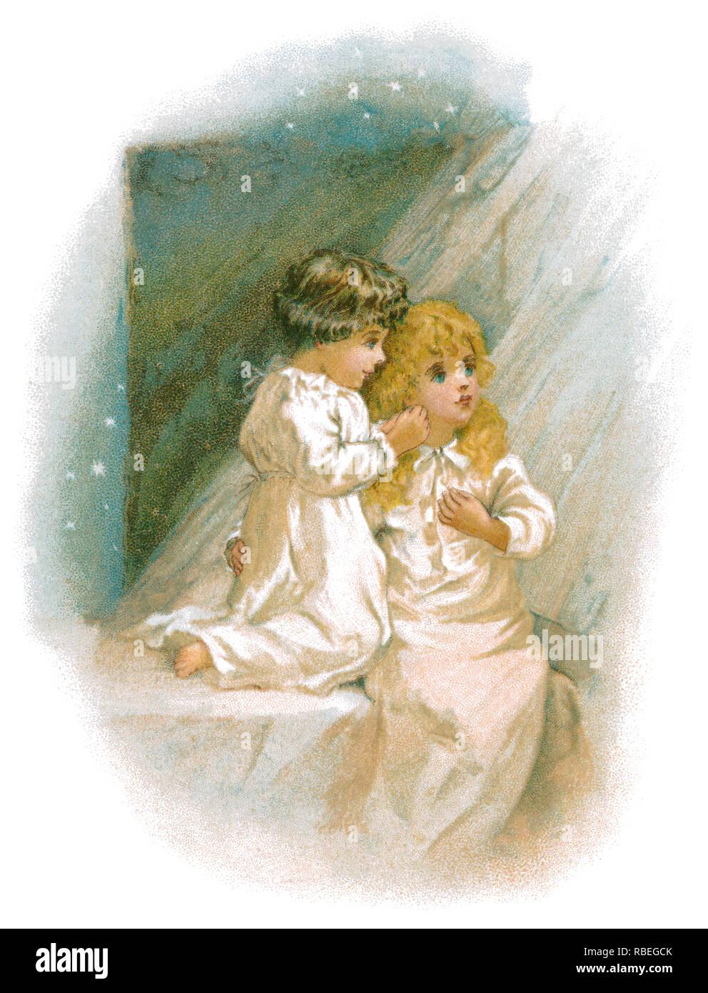 1893 victorienne sentimentale illustration de deux enfants. Banque D'Images