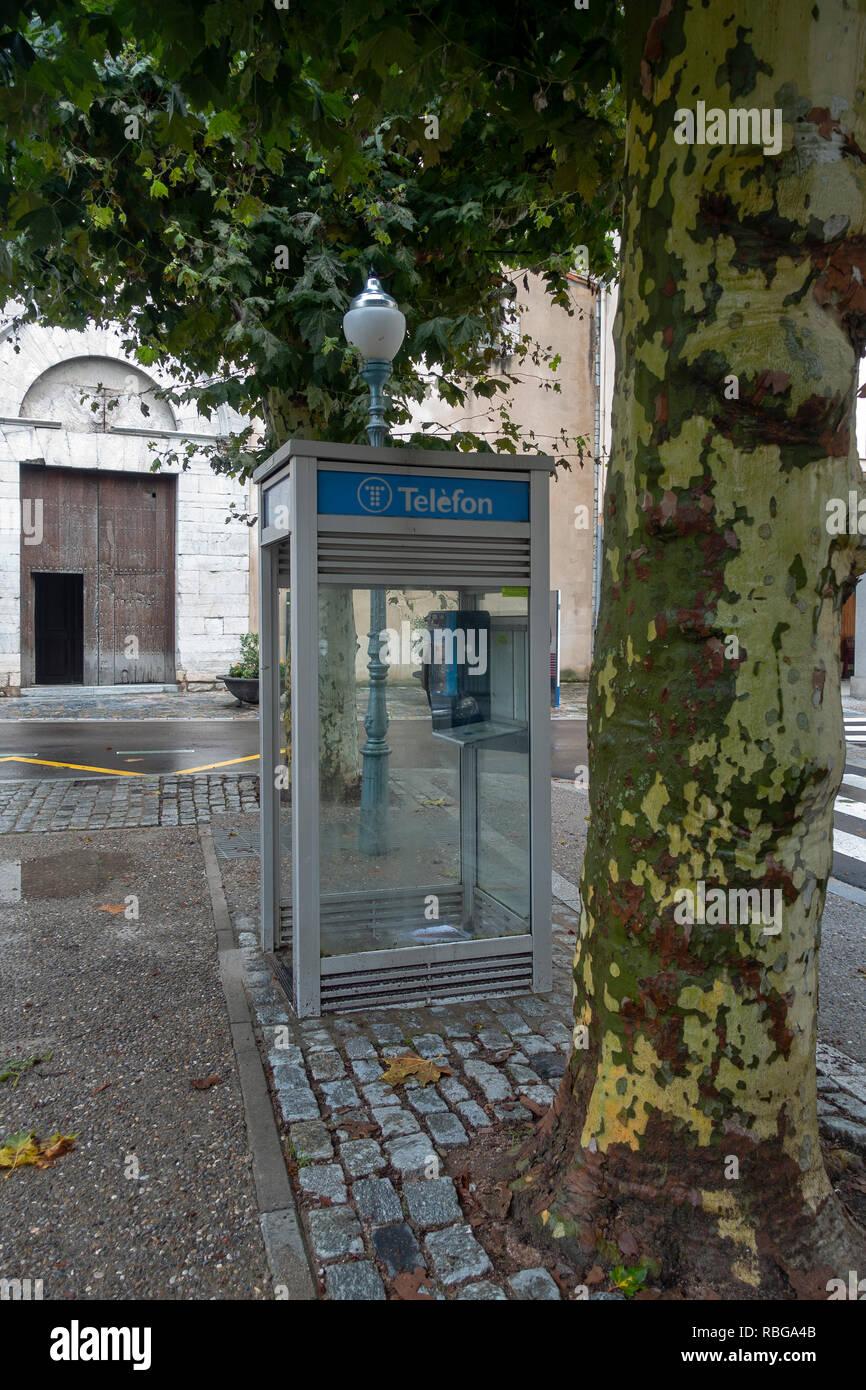 Vieux téléphone fort.Caprodon.Catalunya.Espagne Photo Stock