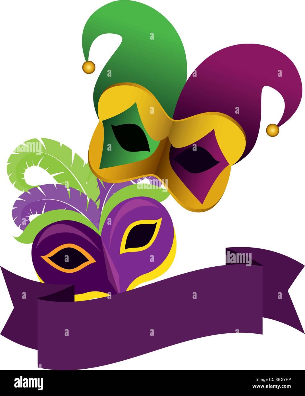 Masque De Carnaval Arlequin Withh Hat Vecteurs Et Illustration