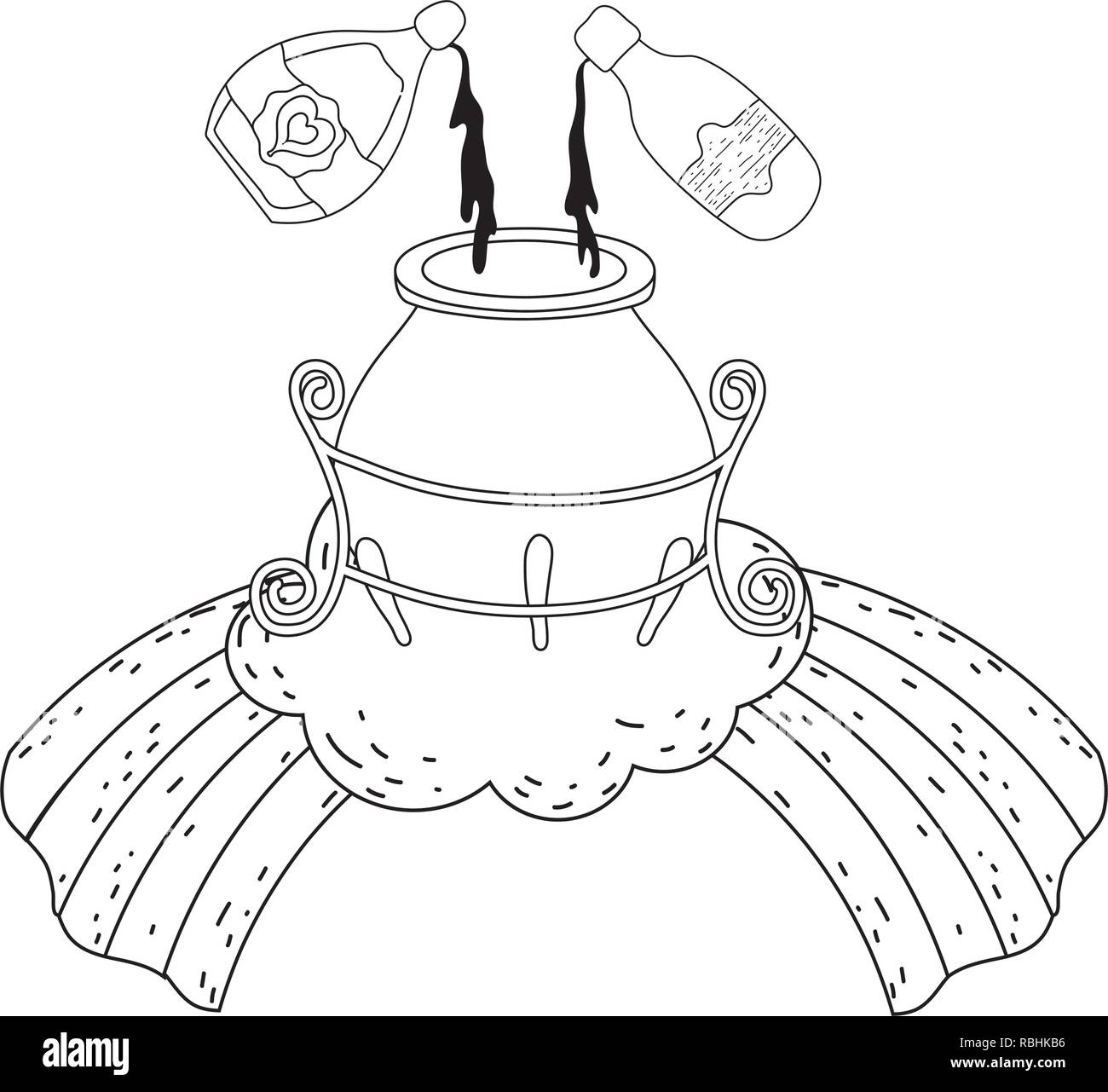 Chaudron De Sorcière Magique Avec Bouteille De Potion Vecteurs Et