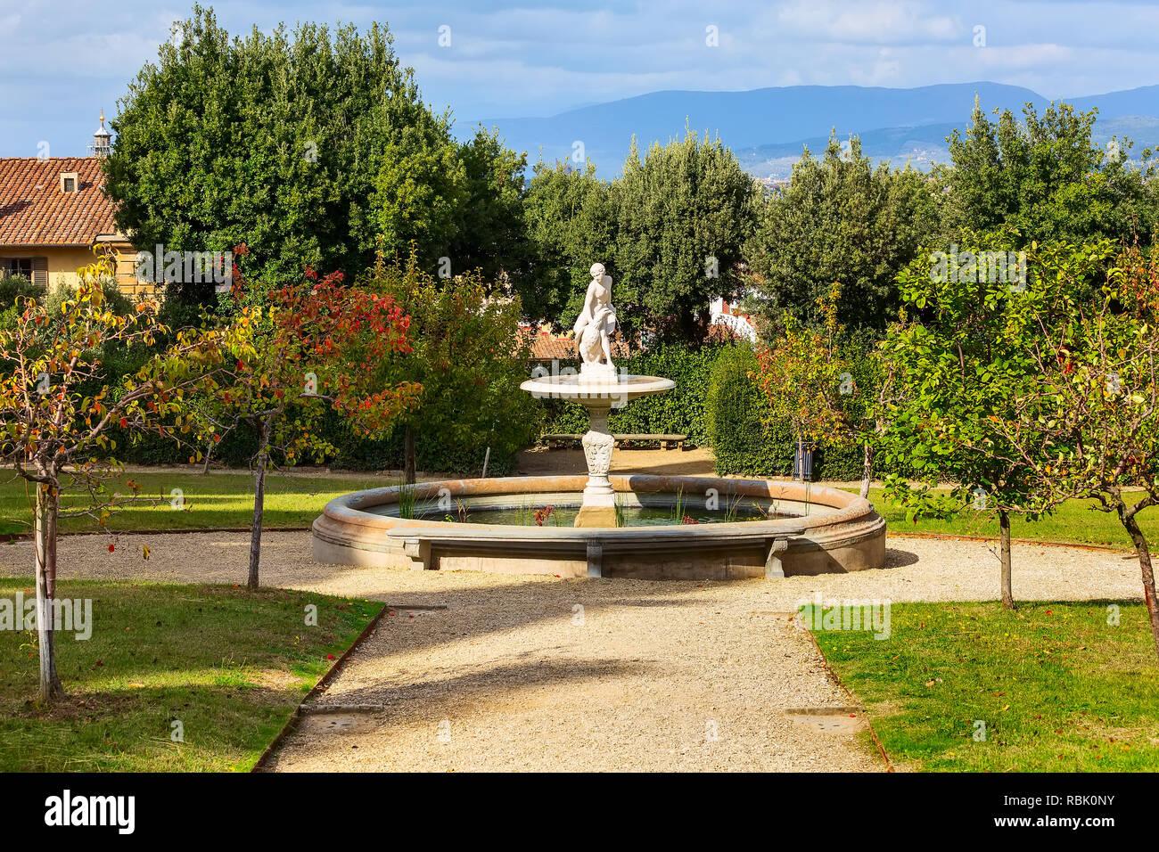 Statue Fontaine Vue Dans Le Jardin De Boboli De Florence Italie