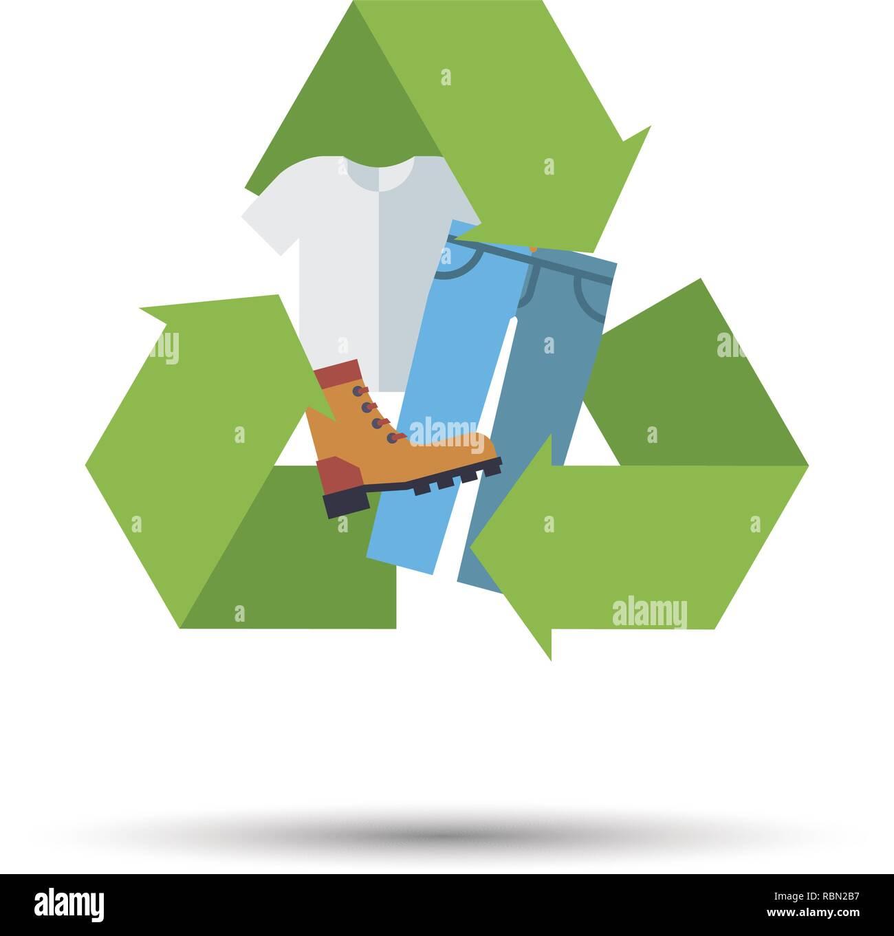 Modèle plat, vêtements, chaussures et textiles icône vecteur de recyclage Photo Stock