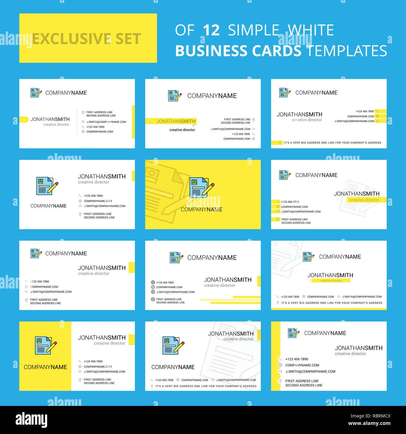 Ensemble De 12 CV Busienss Creative Modele Carte Logo Modifiable Et Fond Visite