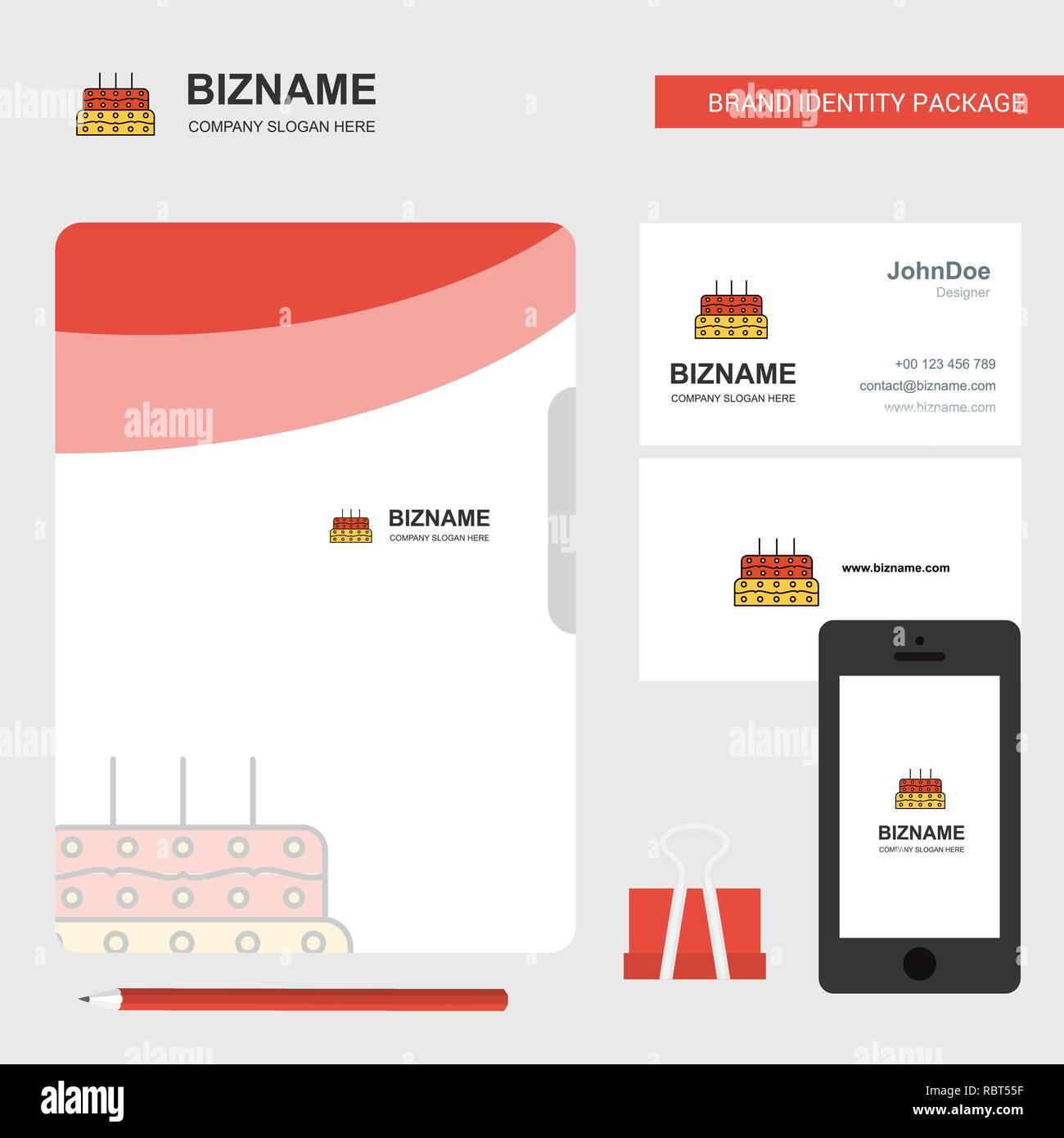 Gateau Danniversaire Logo Dentreprise Carte De Visite Et Couverture Du Dossier Conception Dapplications Mobiles Vector Illustration