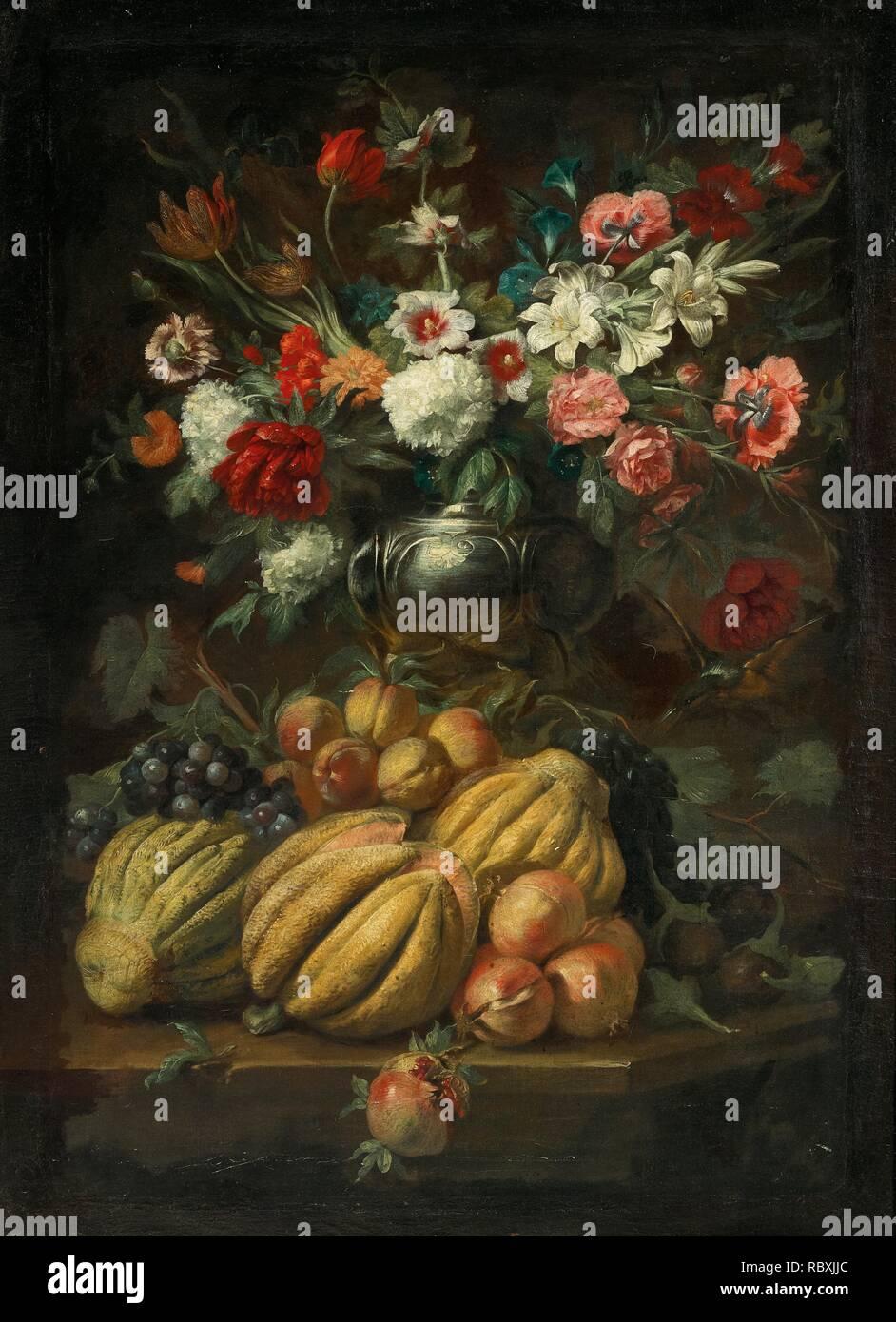 Abraham Brueghel [avis] salle des ventes (Anvers 16311697 Naples) dans un vase de fleurs et fruits sur une table.jpg - RBXJJC Banque D'Images