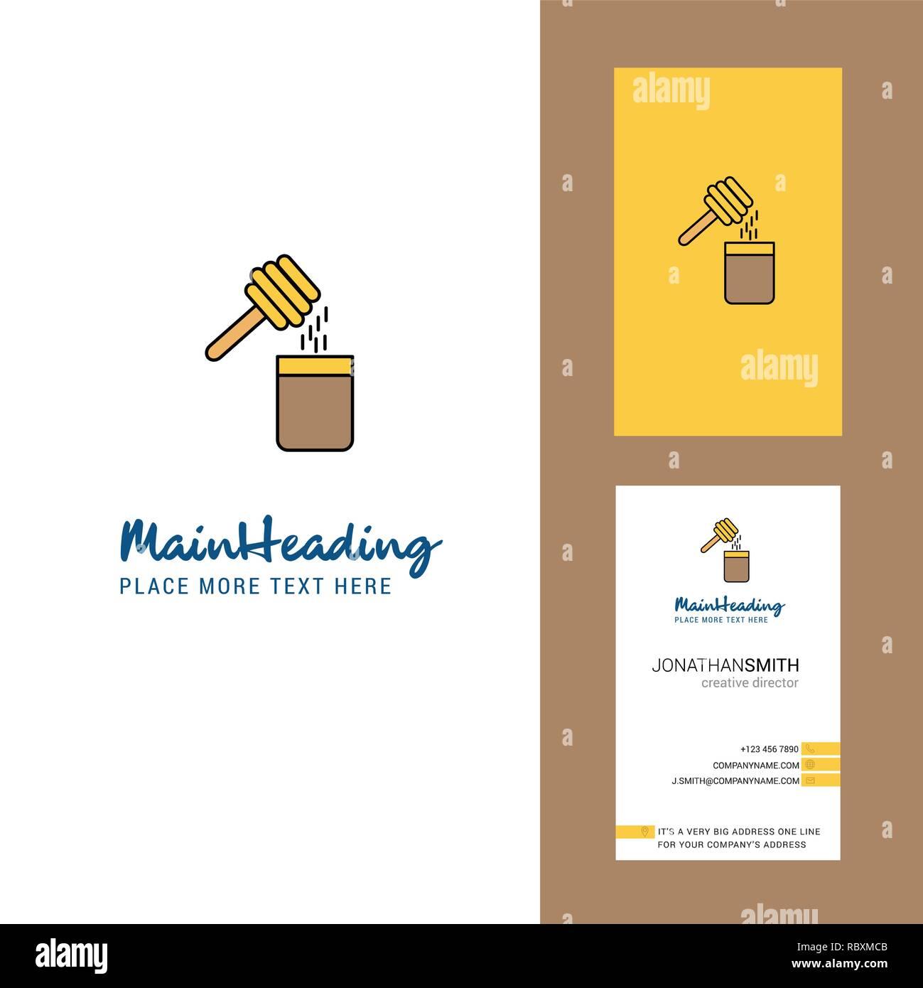Miel Creatifs Logo Et Carte De Visite Vecteur Conception Verticale