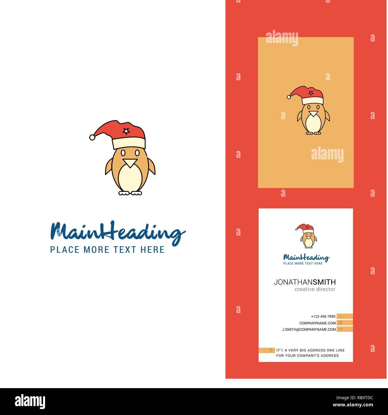 Penguin Noel Logo Et Carte De Visite Creative Vecteur Conception Verticale