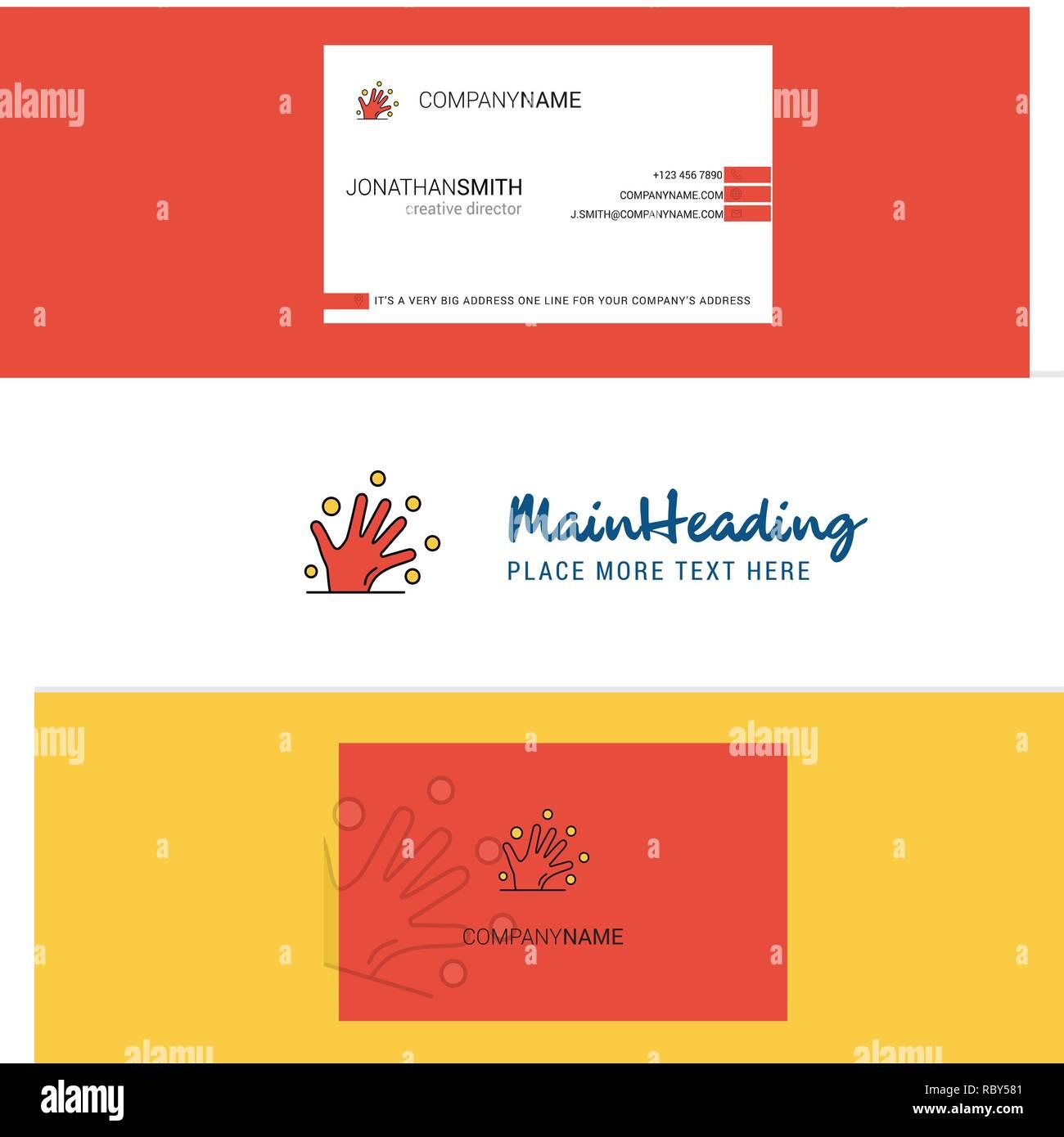 Belle Magie Mains Logo Et Carte De Visite Vecteur Conception Verticale