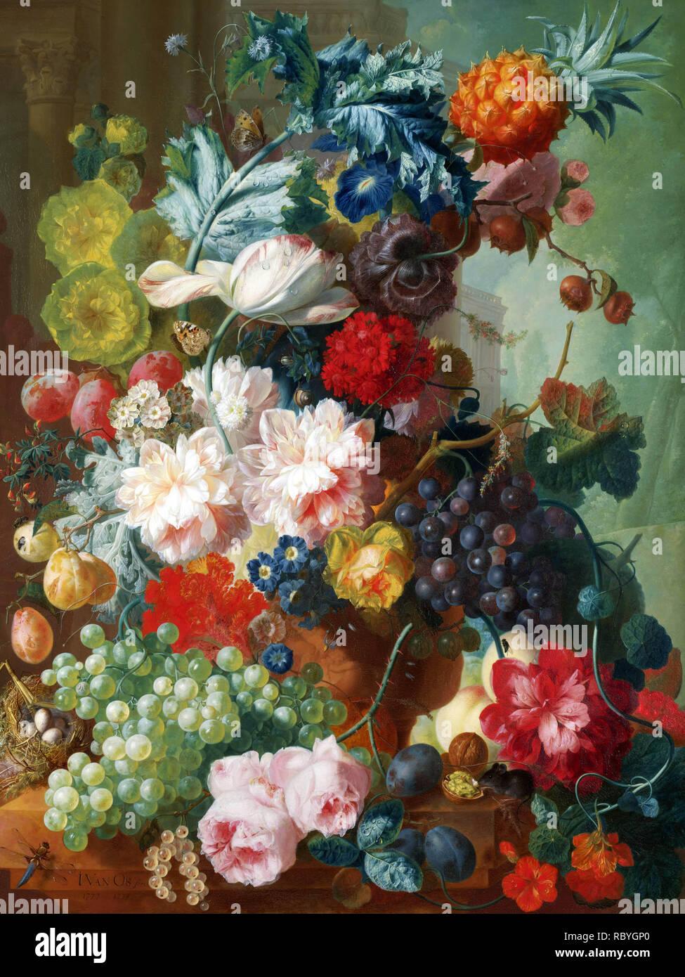 Jan van Os, fruits et fleurs dans un vase en terre cuite, 1777-8.jpg - RBYGP0 Banque D'Images