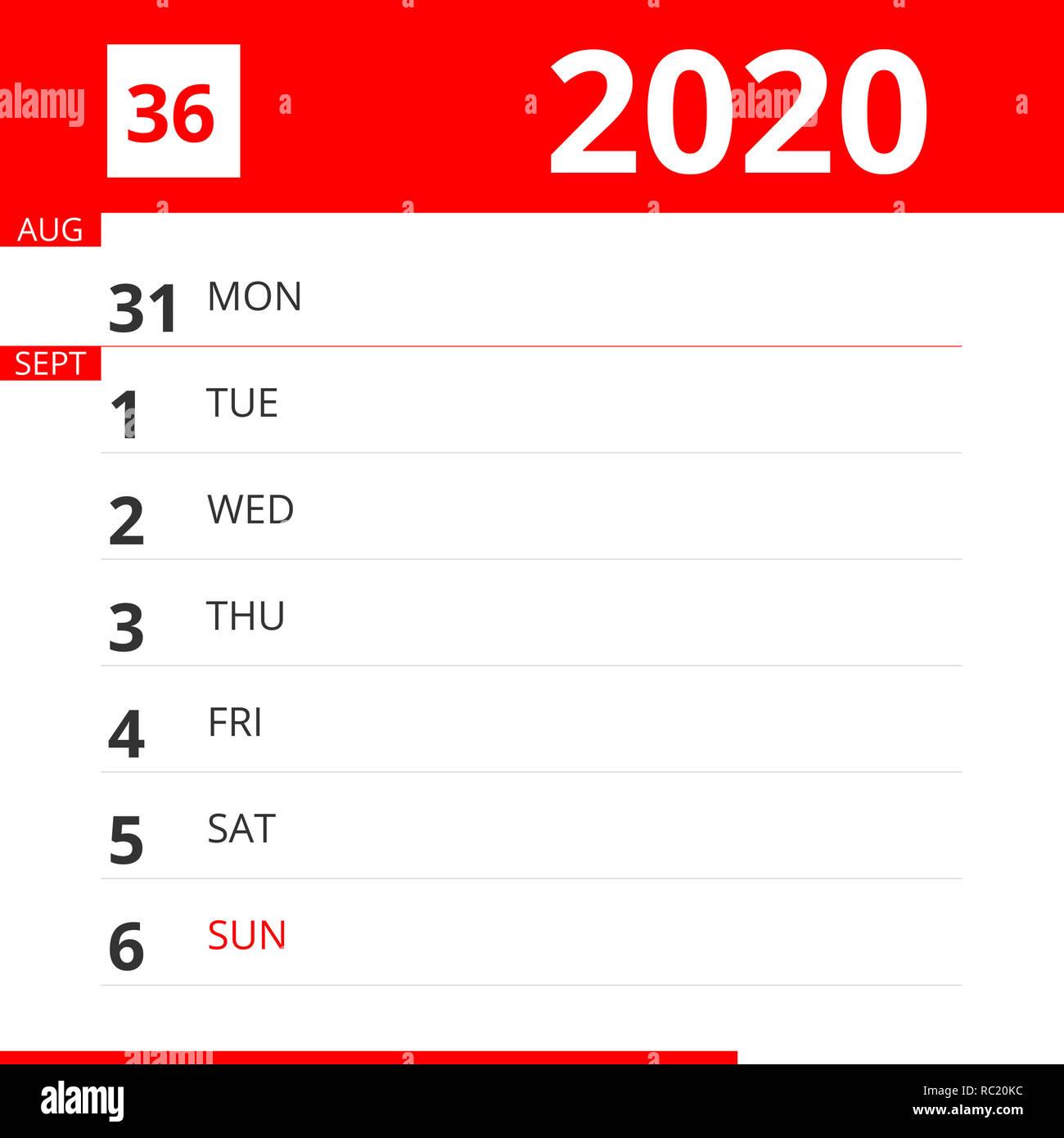 Calendrier De Septembre 2020.Planificateur De Calendrier Pour La Semaine 36 En 2020 Se