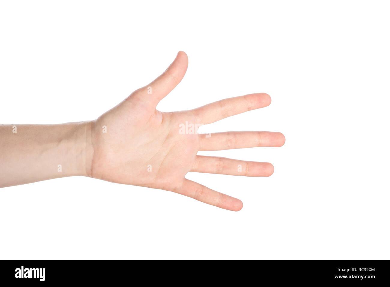 3c263f0607 Main montre femme numder cinq geste isolé sur fond blanc Photo Stock