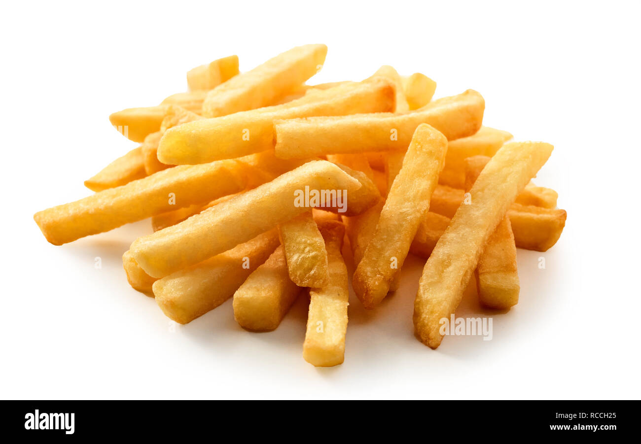 Close up sur les frites de pommes de terre fraîches ou Pommes frites servies dans une pile onn un fond blanc convient pour un menu à emporter ou publicité Photo Stock