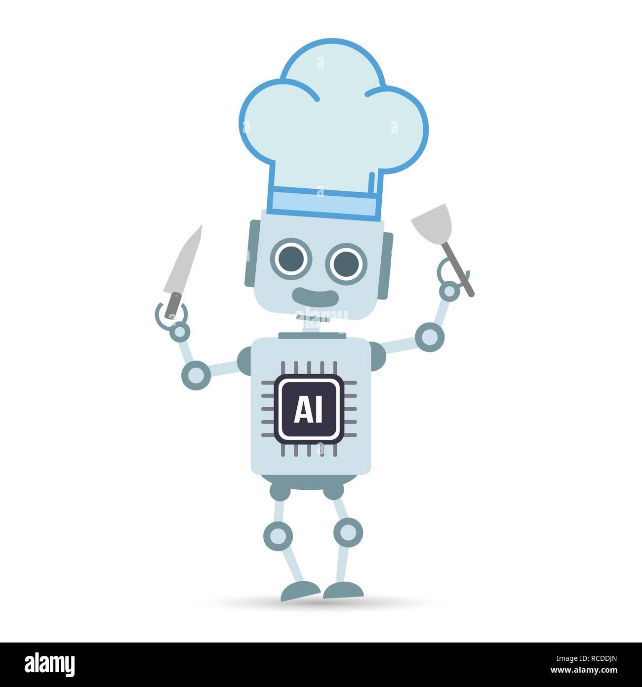 La technologie d'intelligence artificielle ia robot est la cuisson des aliments élément design illustration vecteur eps10 Illustration de Vecteur