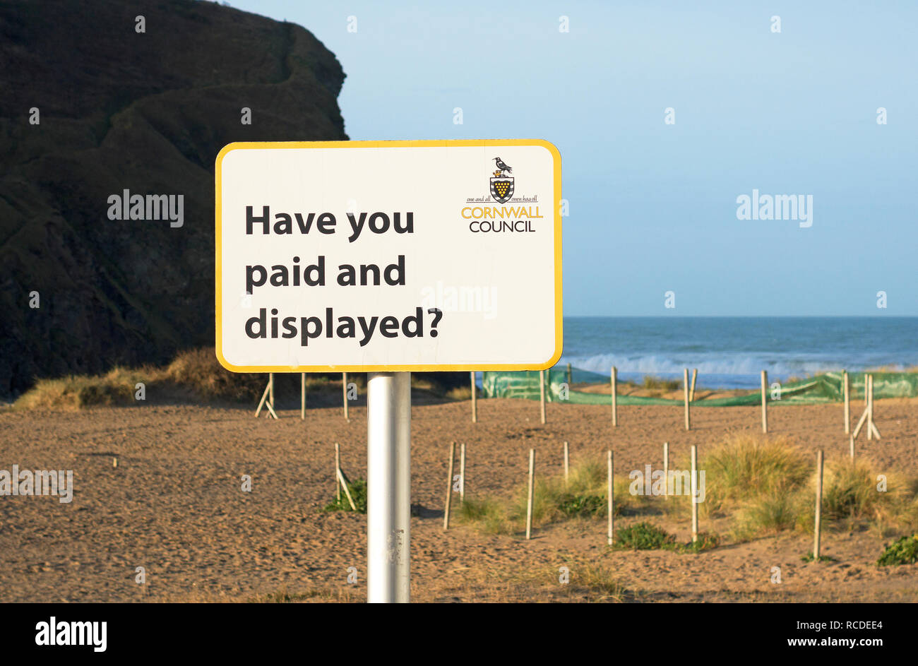Parking gratuit payer et afficher sign, porthtowan, Cornwall, England, UK. Photo Stock