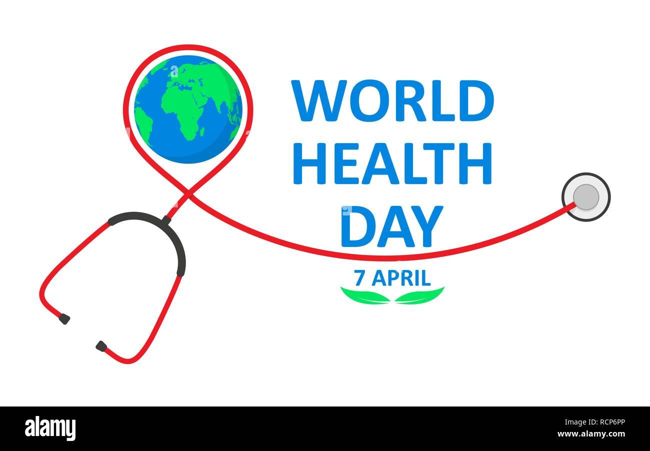 La Journée mondiale de la santé poster avec stéthoscope dans télévision design. Vector illustration. Globe signe et stéthoscope, ecology concept, Photo Stock
