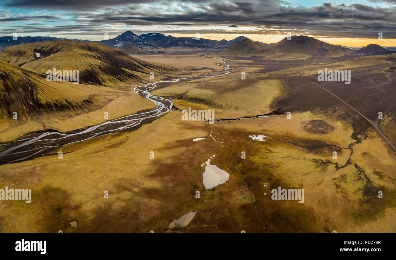 Landmannalaugar, hauts plateaux du centre, de l'Islande Photo Stock