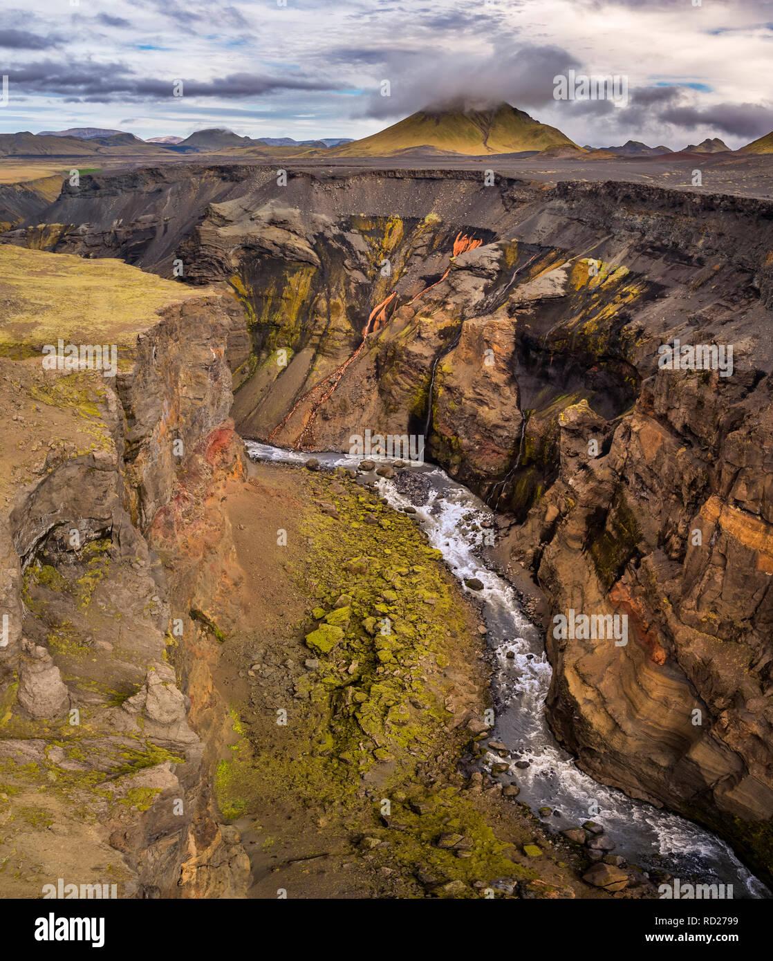 Markarfljotsgljufur Canyon, hauts plateaux du centre, de l'Islande Photo Stock