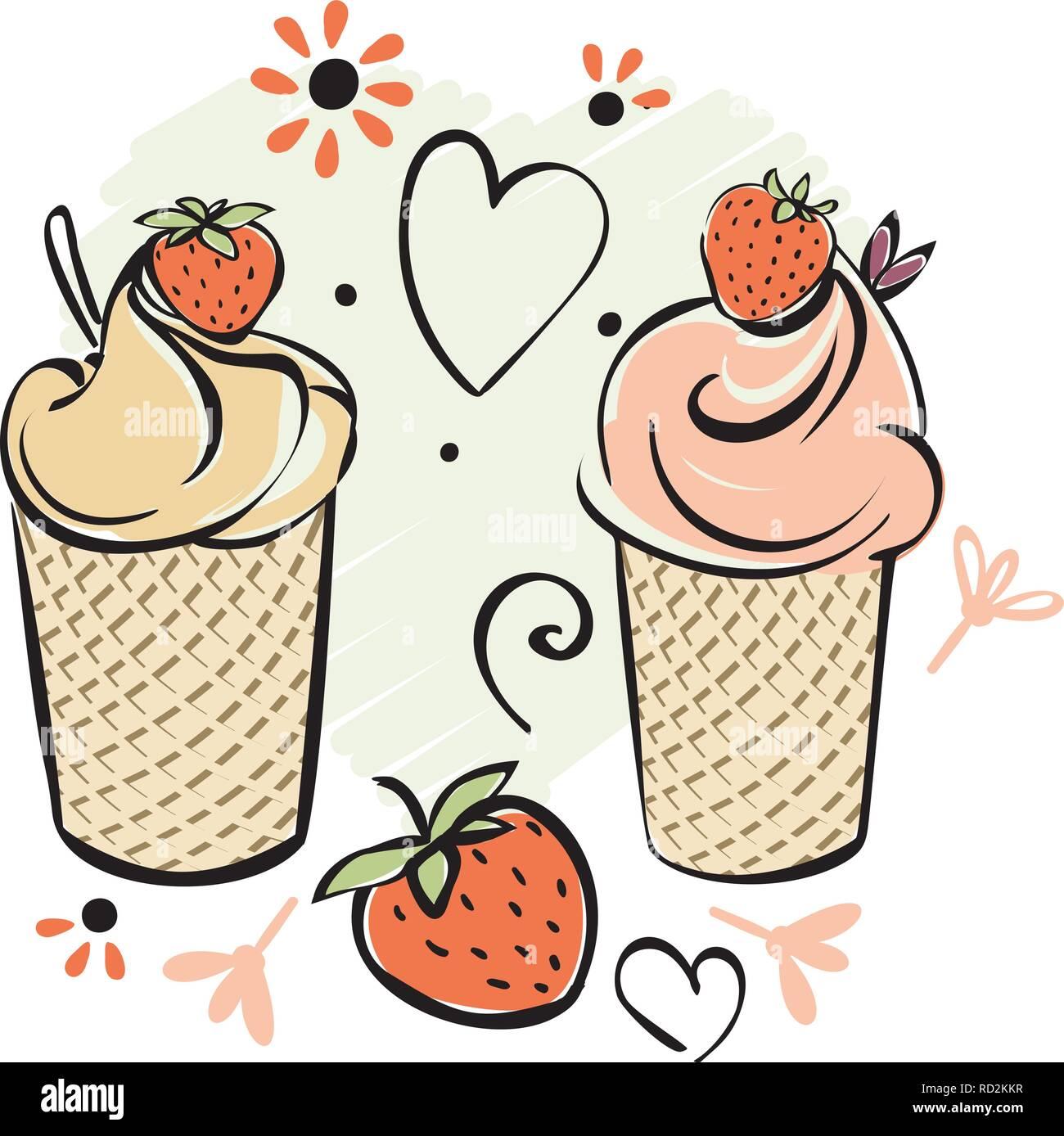 La Crème Glacée à La Fraise Noir Blanc Rouge Rose Creame