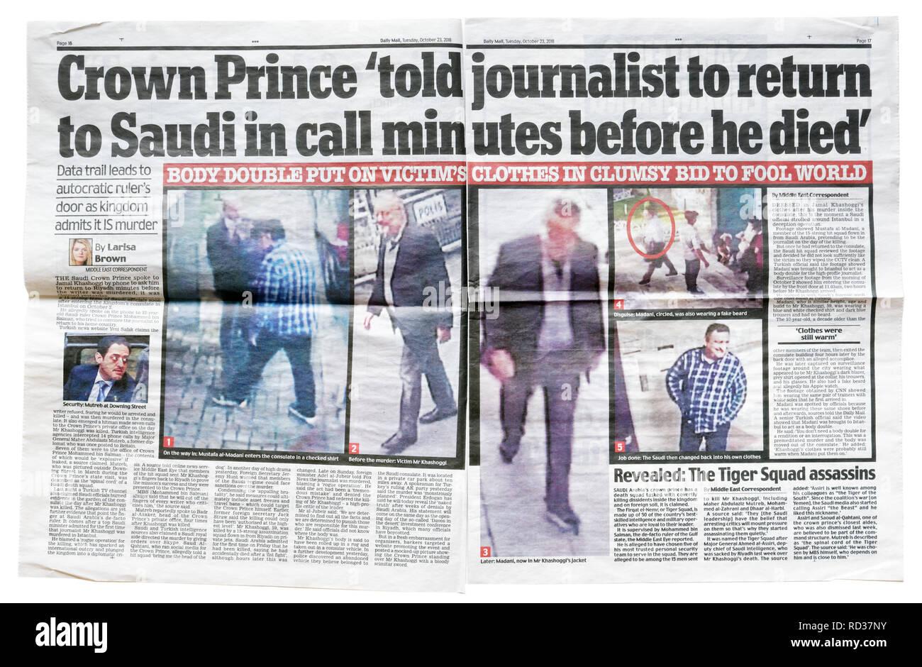 Une double page du Daily Mail du 23 octobre 2018 avec l'histoire que Khashoggi a dit de retourner à l'Arabie Photo Stock