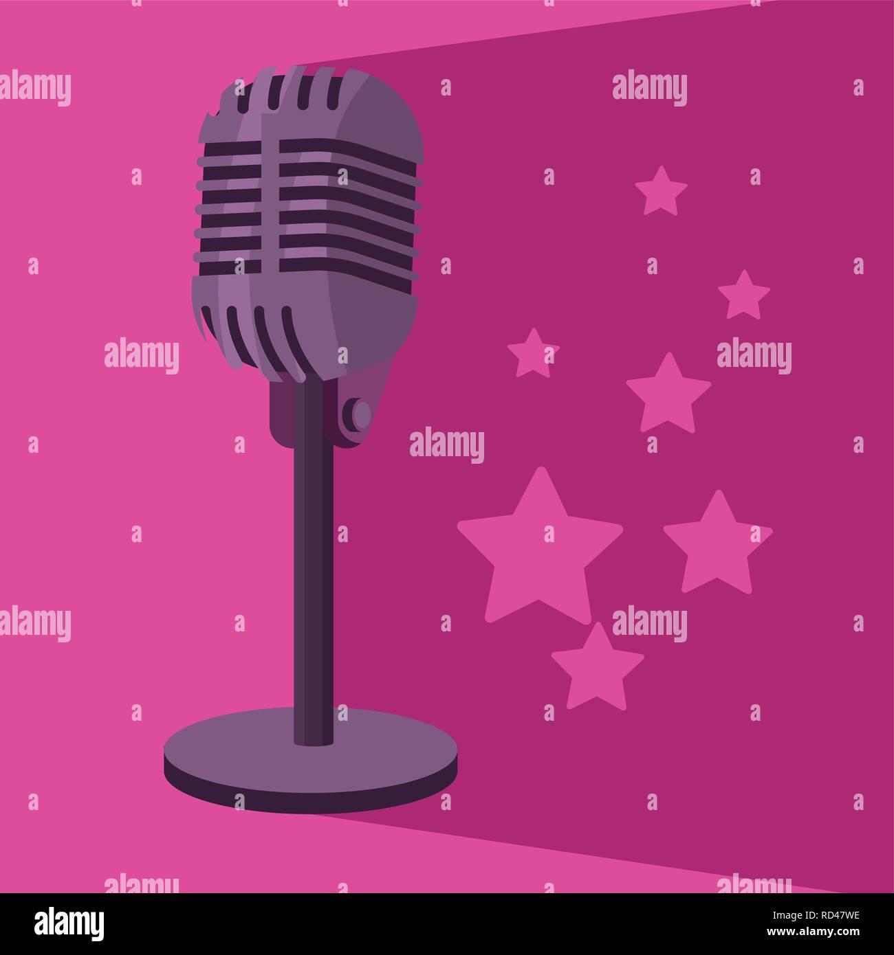 Microphone avec star Photo Stock