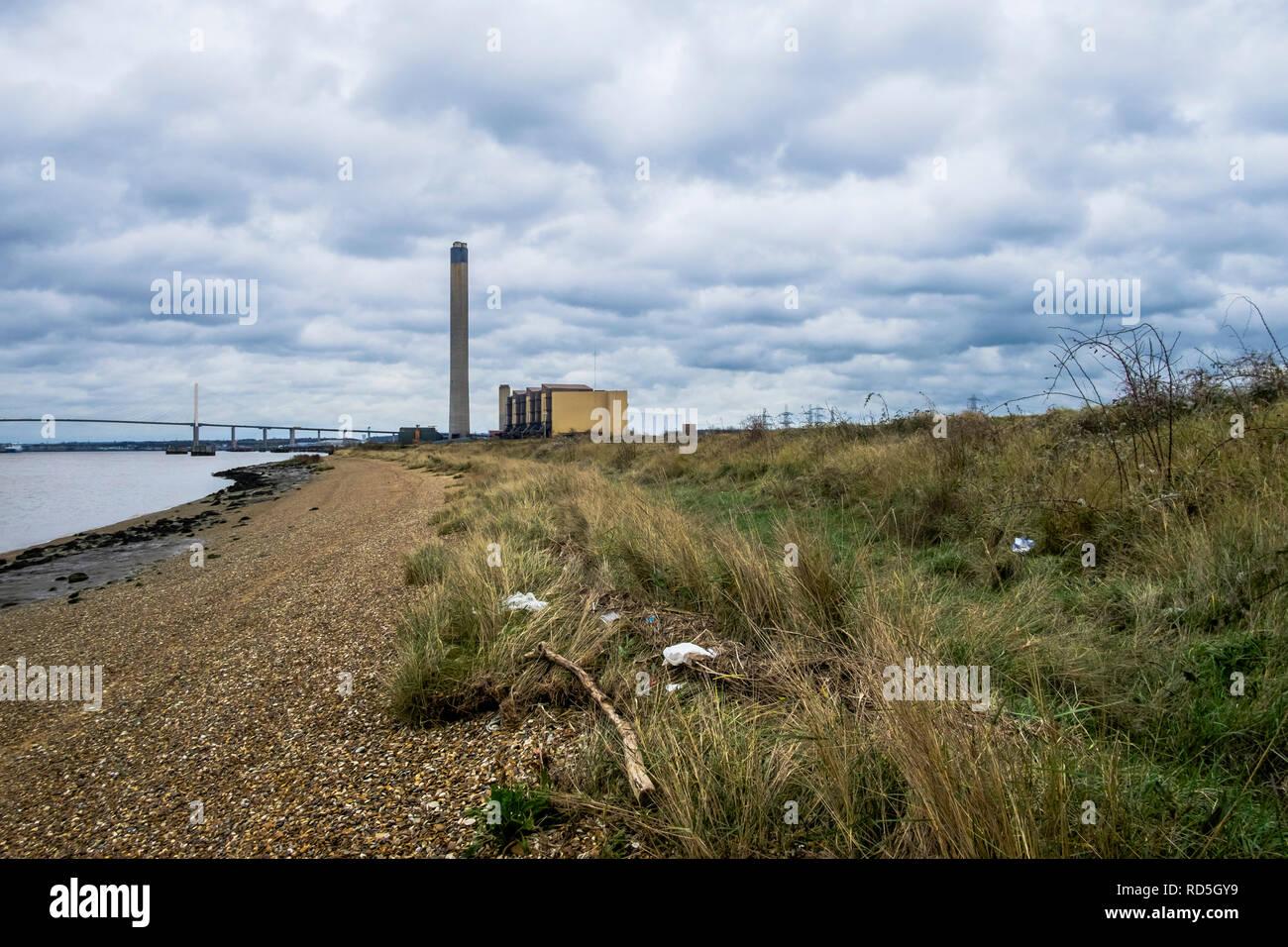 Littlebrook centrale à charbon, longue portée, DARTFORD, KENT UK Banque D'Images