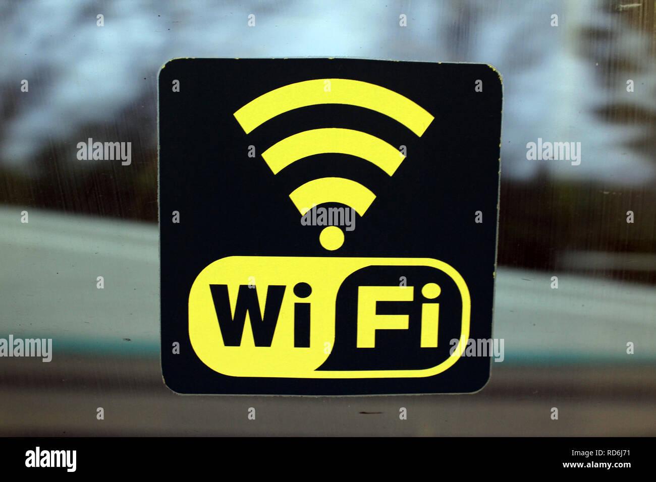Connexion Wi-fi sur une fenêtre de train Photo Stock