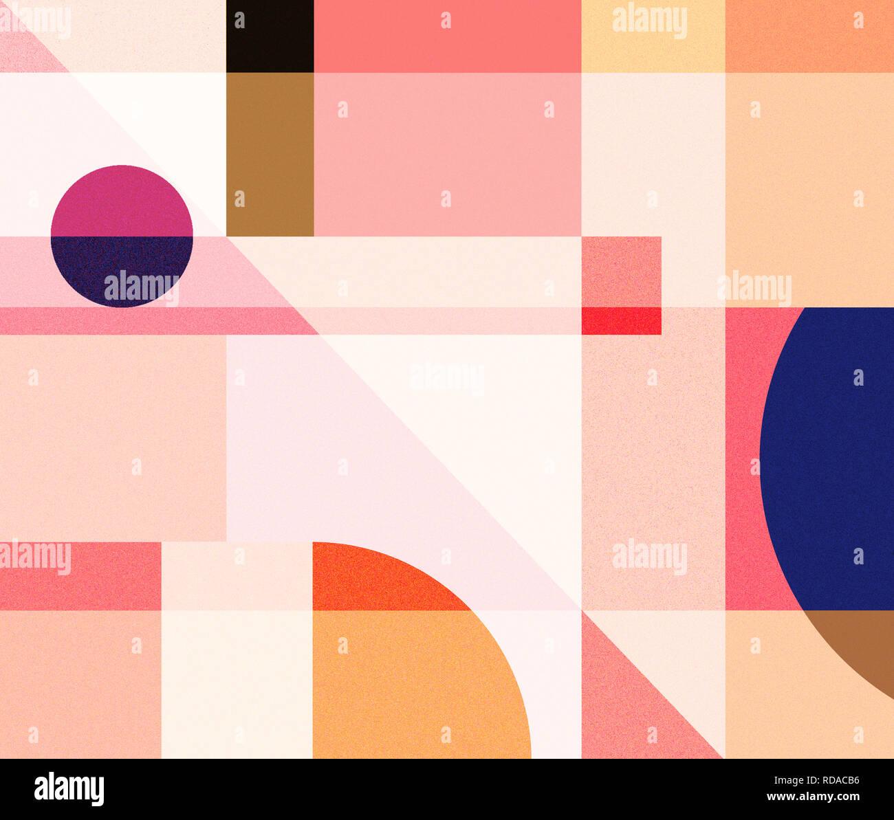 Vecteur d'art abstrait géométrique poster avec masque simple et minimaliste des formes des chiffres. Banque D'Images