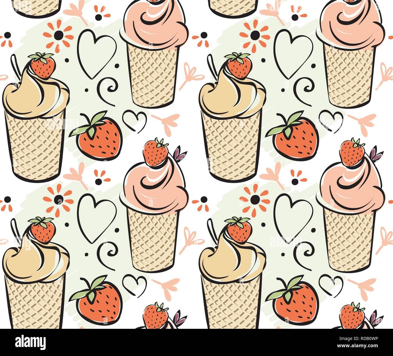 Crème Glacée à La Fraise Motif Transparent Noir Blanc Rouge