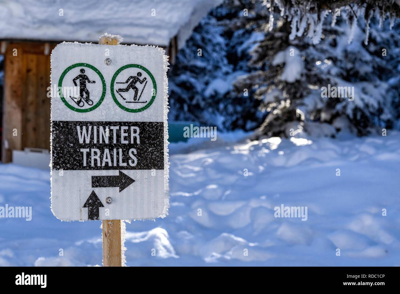 Sentiers d'hiver signe pour la raquette et le ski de fond Photo Stock