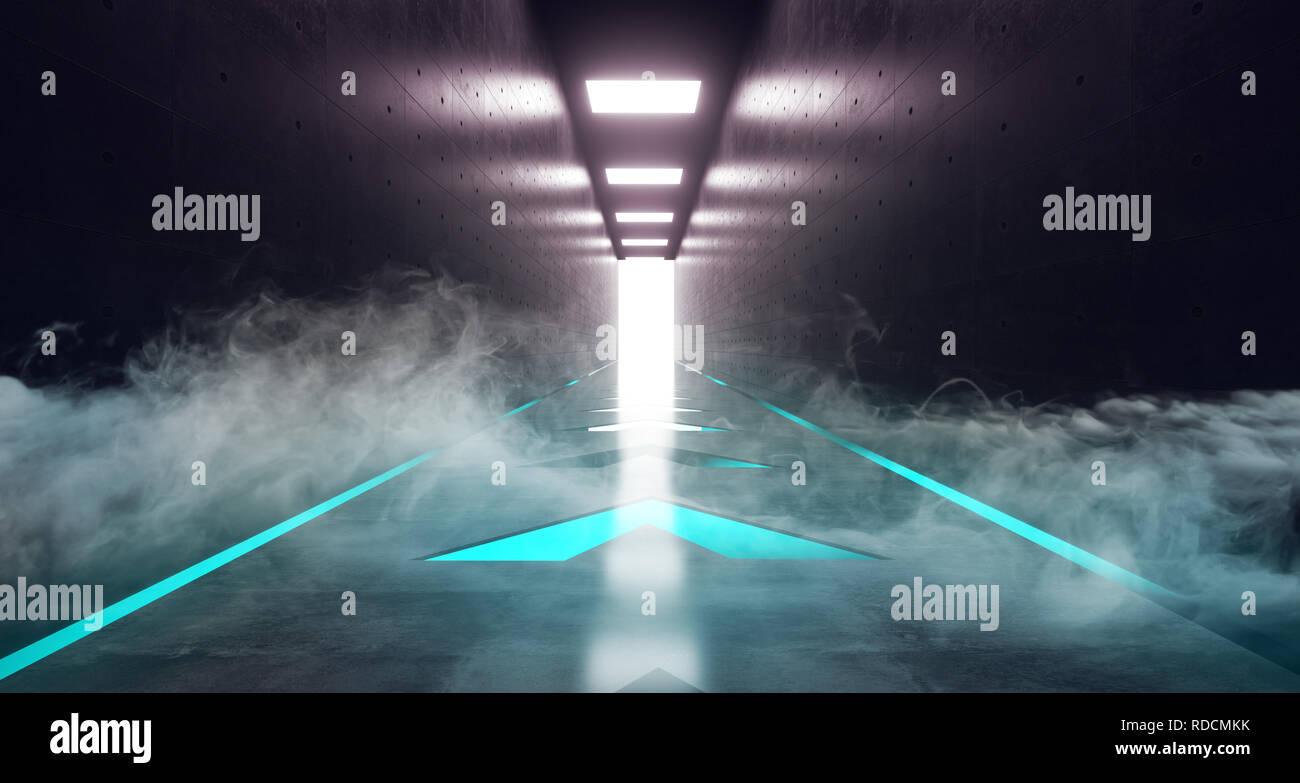 Sci Fi Moderne Futurisme Resume Alien Neon Bleu Eclairage