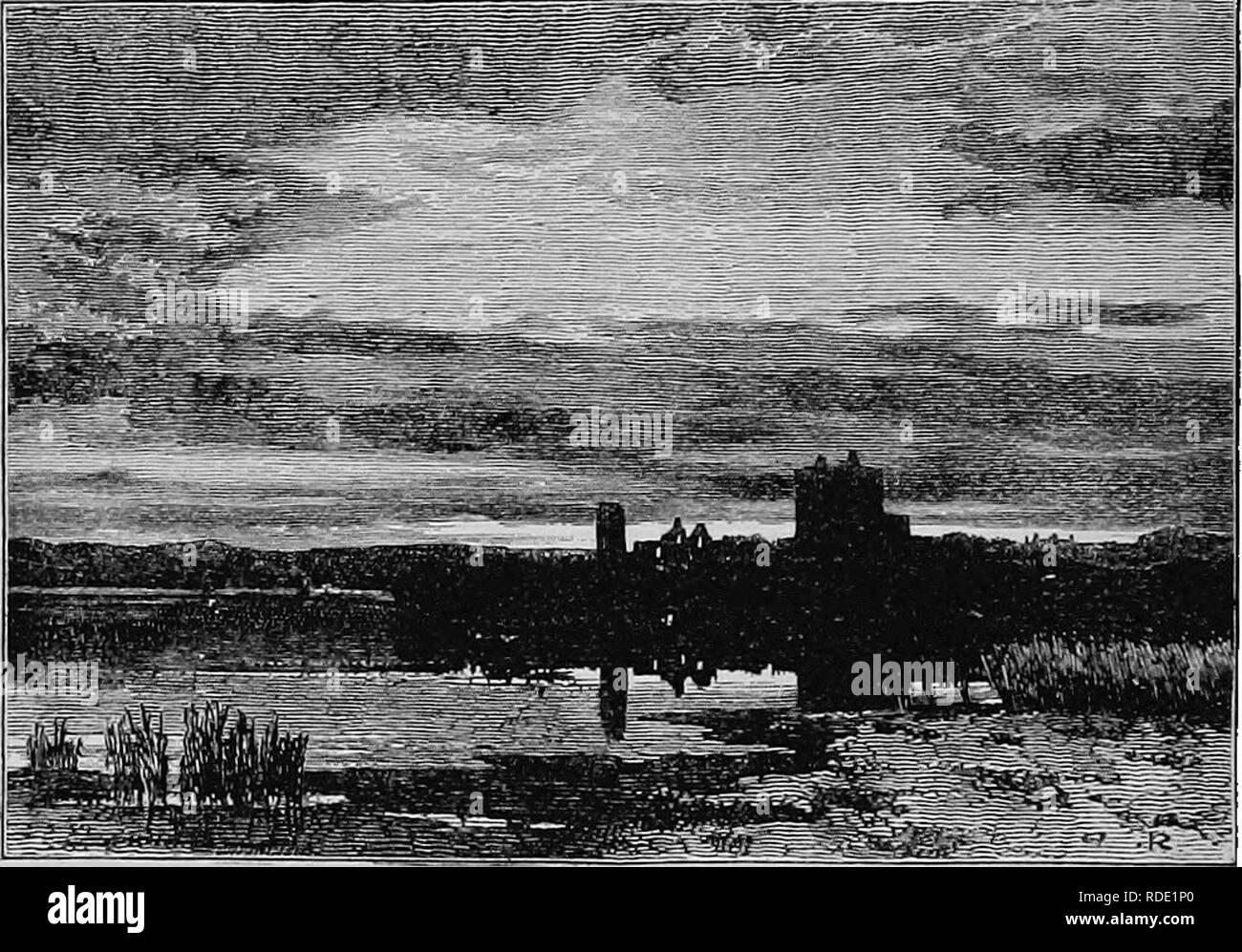 """. Vie d'un naturaliste écossais: Thomas Edward, associé de la Société linnéenne. 310 Le Loch d'Spyrvie. [Chap. xvii.-mer plage était ni plus ni moins qu'un véritable kitch- en-midden."""" Le Rey. Le Dr Gordon, d'Bimie, près d'Elgin, avait déjà trouvé la même accumulation de coquillages sur l'ancienne marge du Loch de Spynie, autrefois un bras de mer. Le tertre est situé dans un petit bois sur la ferme, d'Brigzes.. SPTUIE OASTLE ET LOOH, elle avait été très affaiblie par son contenu ayant été carted off du centre du tas, comme le fumier ou haut- dressing pour les champs voisins. L Banque D'Images"""