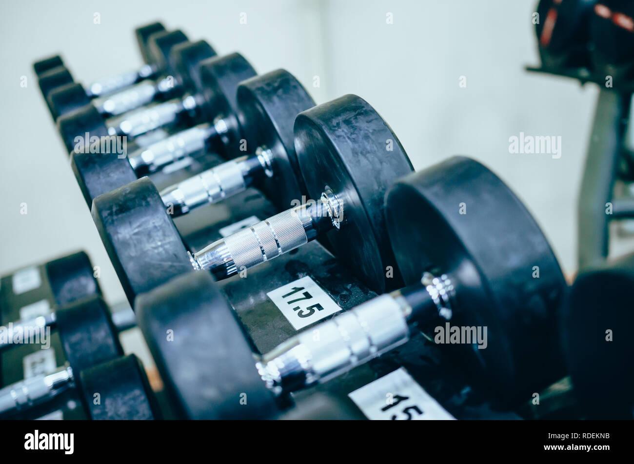 Ou en acier métallique haltères pour la formation de poids lourds sur le stand in gym Photo Stock