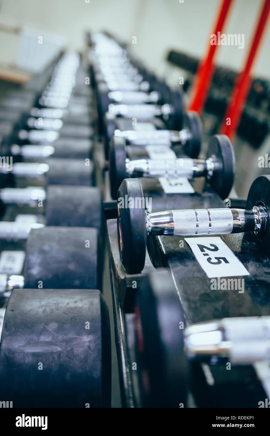 Lignes d'haltères pour la formation de poids dans la salle de sport. Concept de bodybuilding Photo Stock