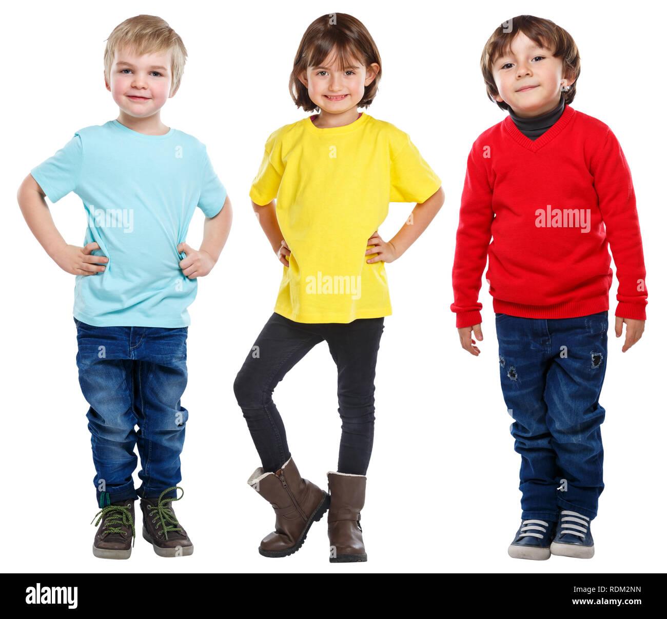 Les enfants Les enfants petits garçons girl portrait complet du corps isolé sur fond blanc Photo Stock