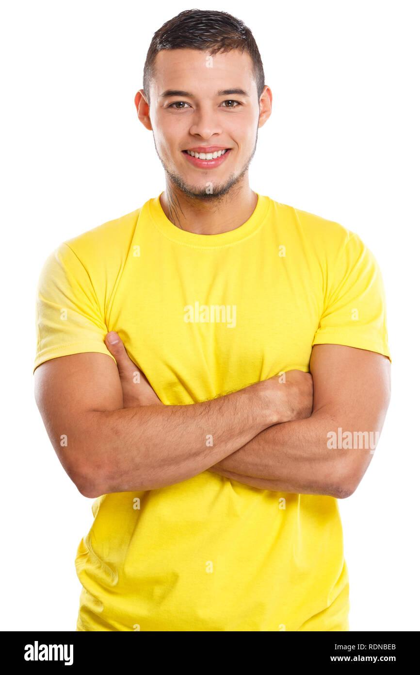 Jeune homme haut du corps portrait smiling people isolé sur fond blanc Photo Stock
