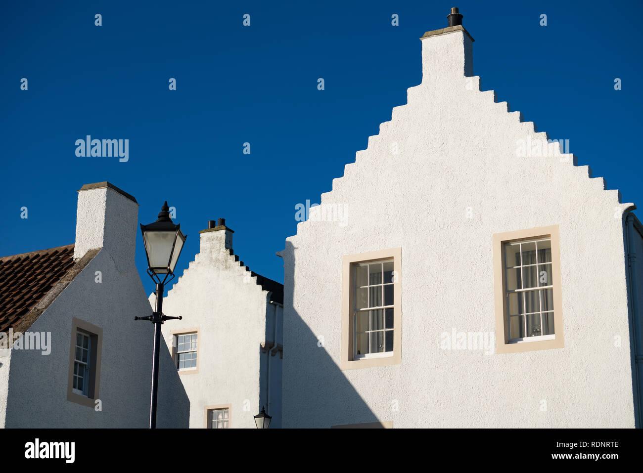 Vieilles maisons blanchies à la chaux à Pan Ha' à Dysart dans Kirkcaldy , Fife, Scotland, UK Photo Stock
