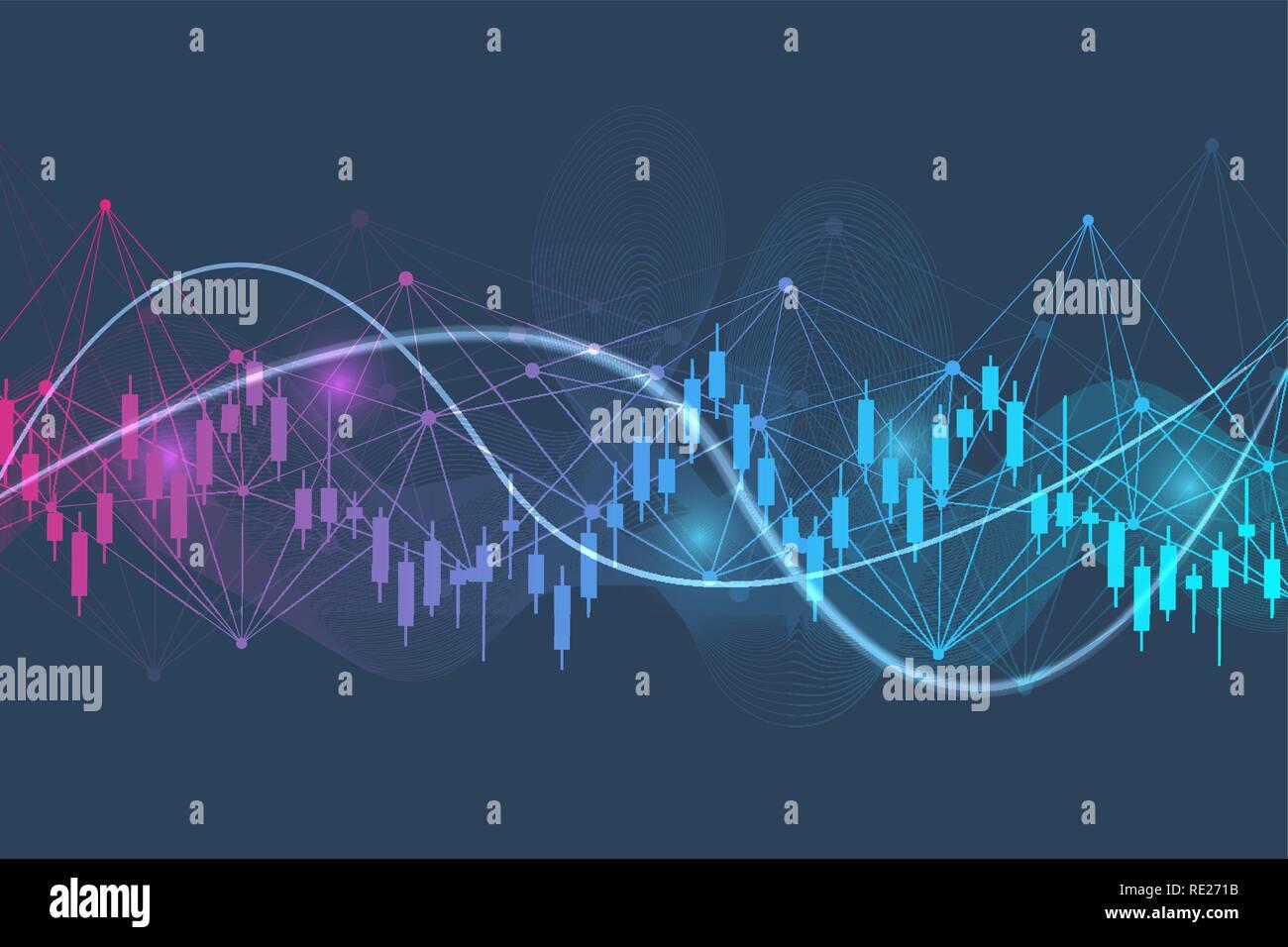 Bourse ou le commerce de forex graphique. Tableau de l'illustration vectorielle du marché financier finances Résumé Contexte Illustration de Vecteur