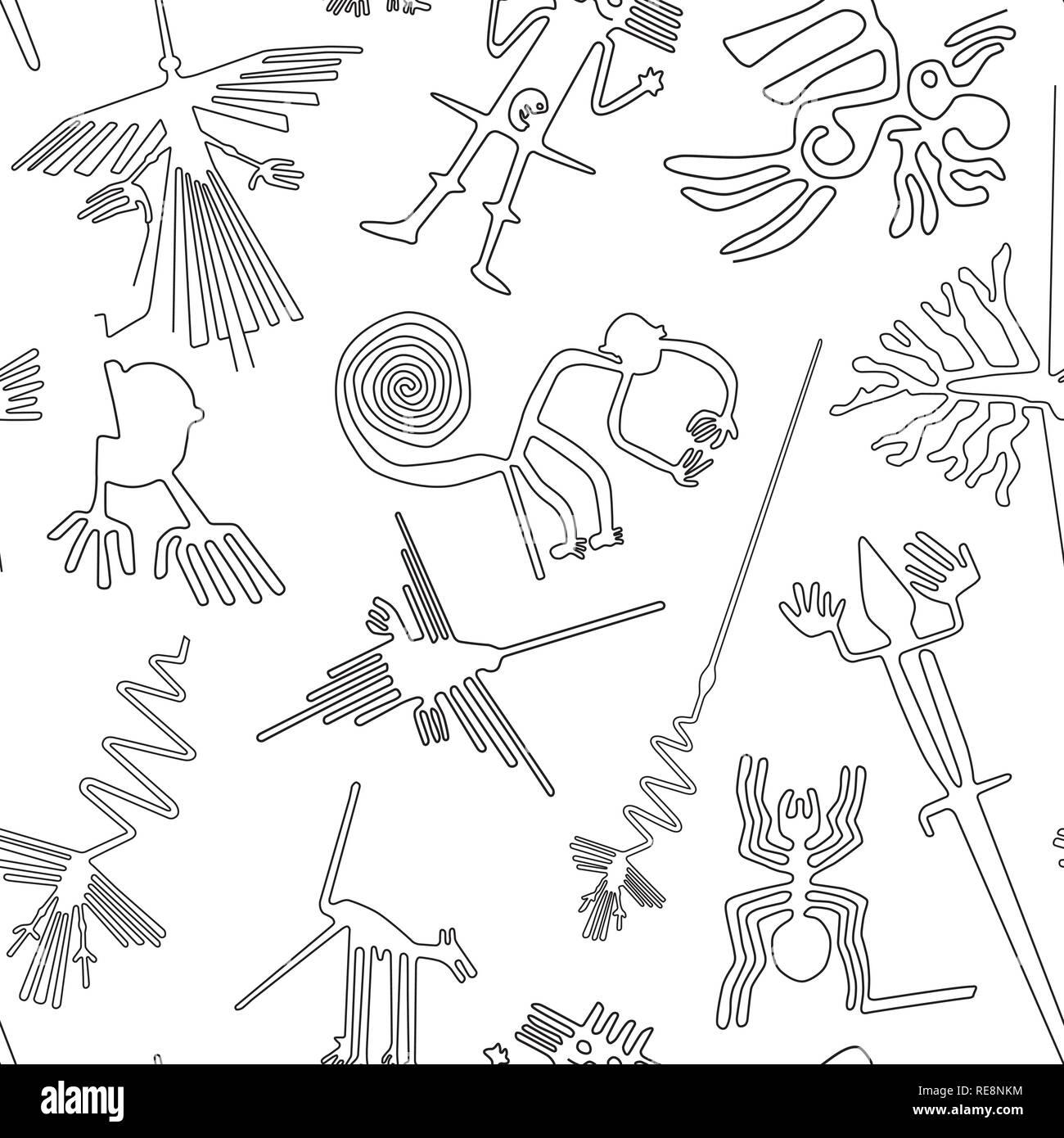 Vector pattern transparente, lignes de Nazca, créatures de désert de Nazca au Pérou Photo Stock
