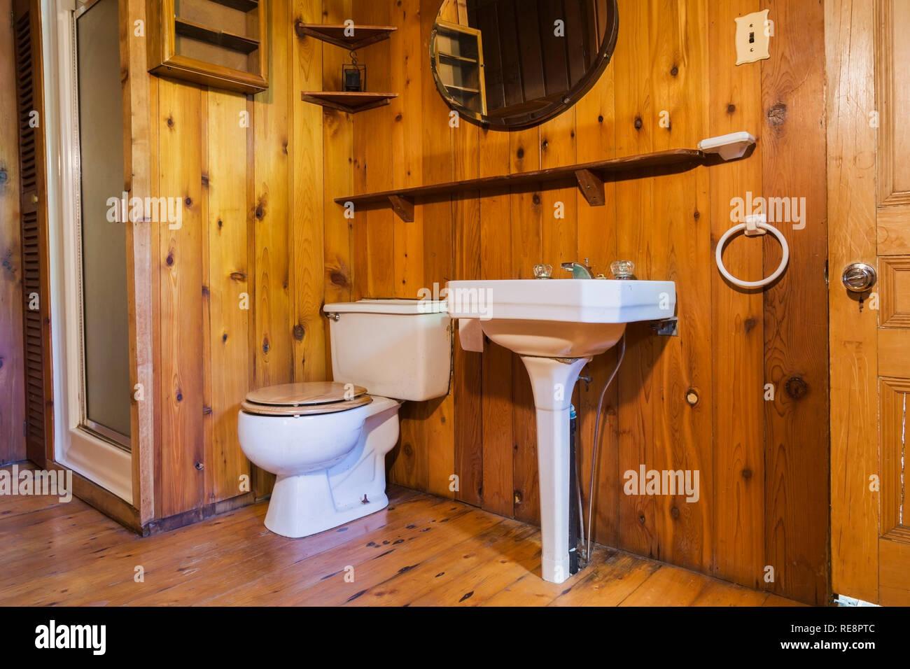 Lavabo sur pied blanc, toilettes et cabine de douche porte ...