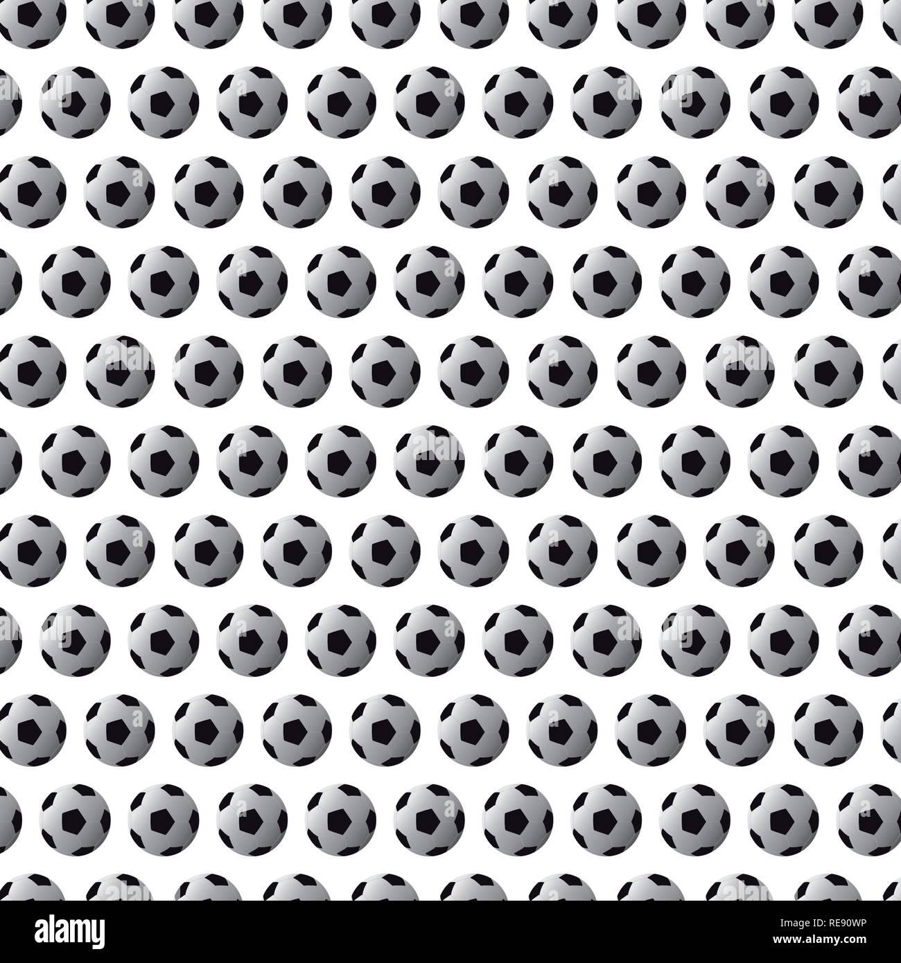 Modèle sans couture avec le soccer (football) balls noir sur fond blanc Photo Stock